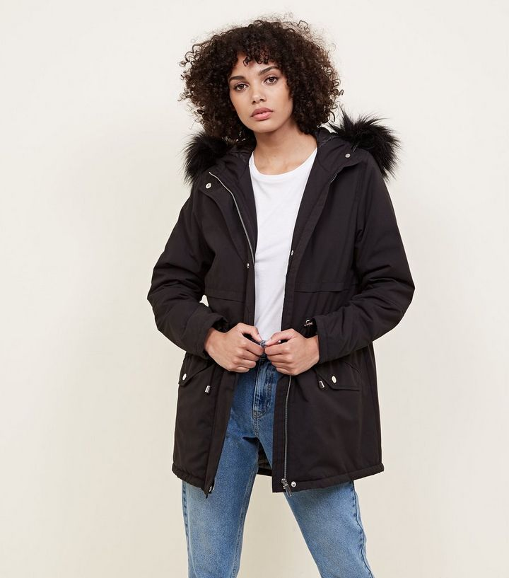 8d21a79d6 Black Faux Fur Trim Hooded Parka Add to Saved Items Remove from Saved Items