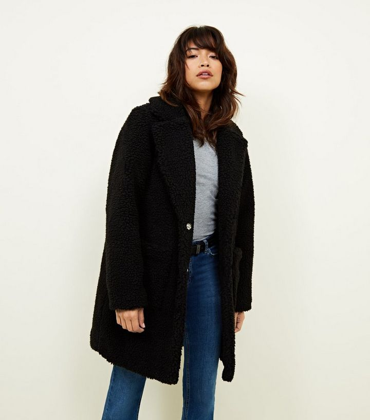 Bruine Teddy Jas.Black Quilted Lining Teddy Coat New Look