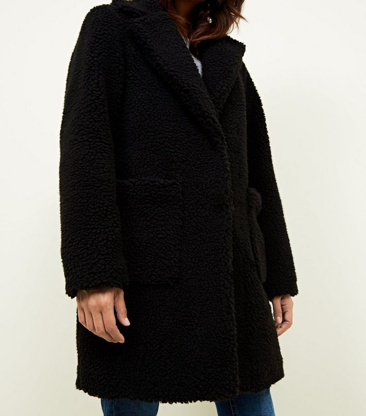 Teddy Jas Wit.Black Quilted Lining Teddy Coat New Look