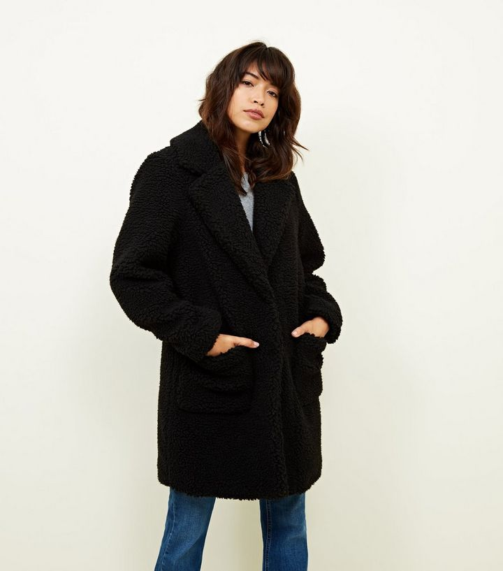 970a5cbd638f Black Quilted Lining Teddy Coat