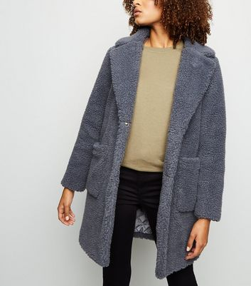 Grey Quilted Lining Teddy Coat