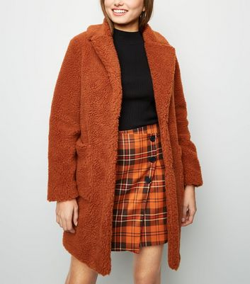 Rust Quilted Lining Teddy Coat