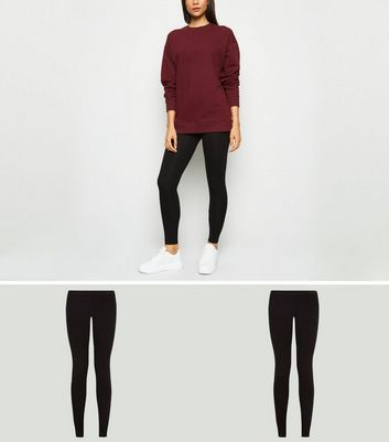 Lot de 2 leggings noirs en coton mélangé