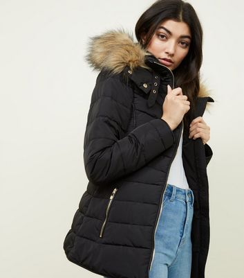 Black Faux Fur Trim Hooded Puffer Jacket