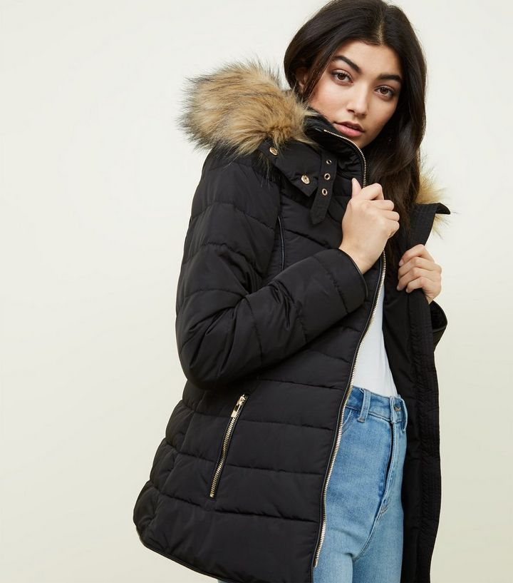 858daf1cb Black Faux Fur Trim Hooded Puffer Jacket | New Look