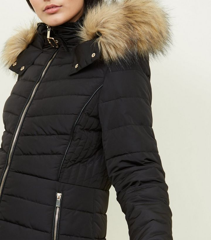 9b19c0b5e Black Faux Fur Trim Hooded Puffer Jacket Add to Saved Items Remove from  Saved Items