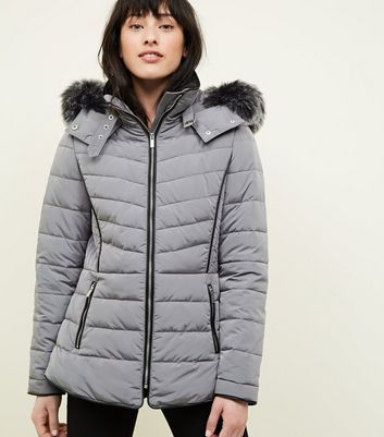 Pale Grey Faux Fur Trim Hooded Puffer Jacket