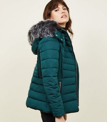 Dark Green Faux Fur Trim Hooded Puffer Jacket