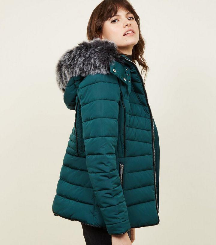 d9828a2875e Dark Green Faux Fur Trim Hooded Puffer Jacket | New Look