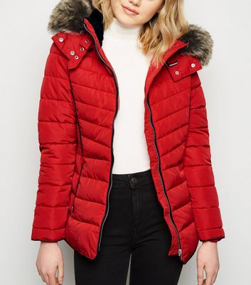 Red Faux Fur Trim Hooded Puffer Jacket