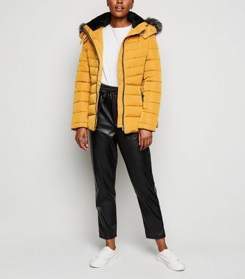 Mustard Faux Fur Trim Hooded Puffer Coat