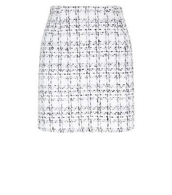 White Boucle Check Mini Skirt New Look