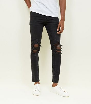 Black Washed Ripped Knee Skinny Jeans