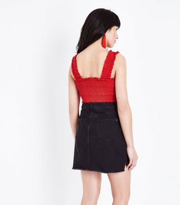 Click to view product details and reviews for Red Square Neck Shirred Vest New Look.
