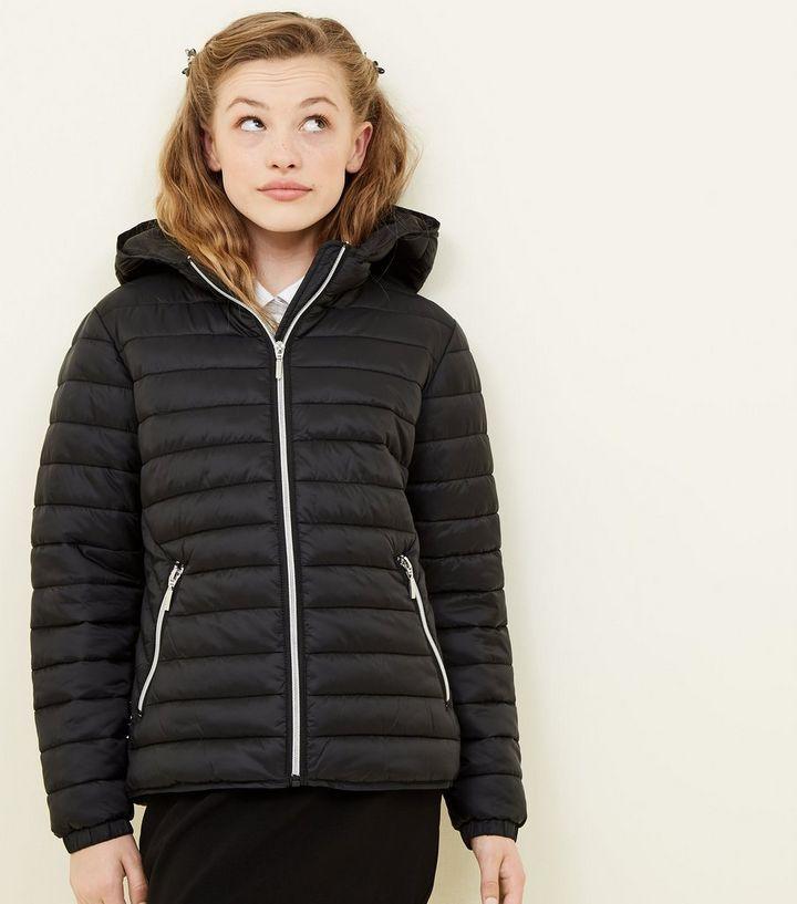 Girls Black Lightweight Hooded Puffer Jacket  ac42d0d83ba2