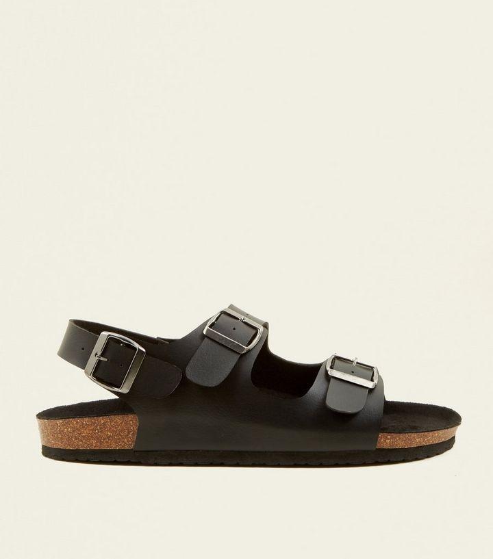 ae322e9e3a47 Black Double Buckle Strap Footbed Sandals