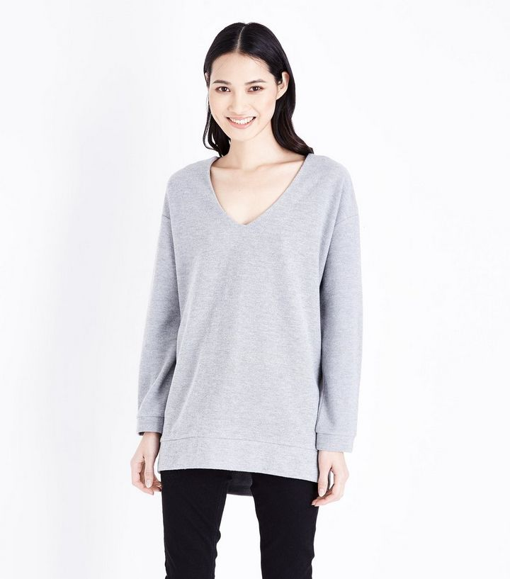 d1d48cf14292 Pale Grey V Neck Longline Fine Knit Top