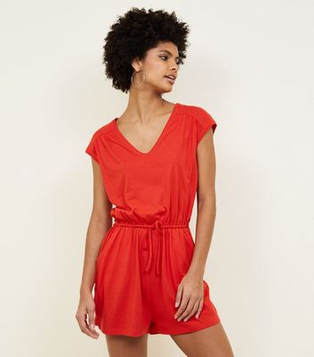 Red Jersey V-Neck Playsuit