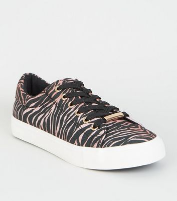 Mink Tiger Print Lace Up Trainers