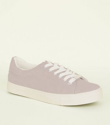 Lilac Faux Nubuck Lace Up Trainers