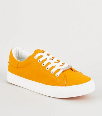Orange Faux Nubuck Lace Up Trainers