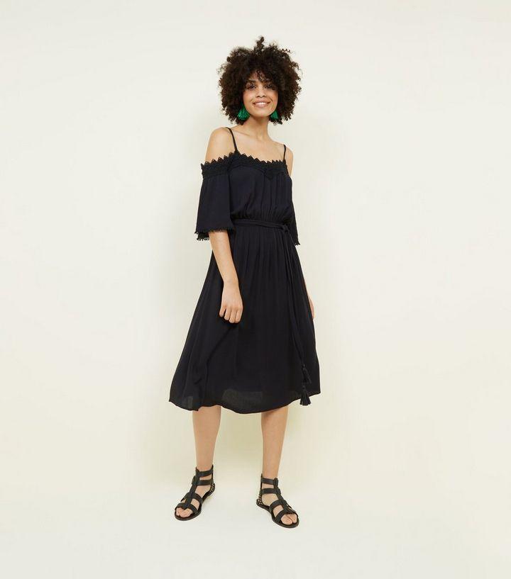 c188b873ff Black Crochet Trim Cold Shoulder Midi Dress   New Look