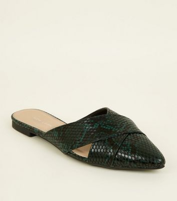 Green Faux Snake Skin Cut Out Cross Strap Mules