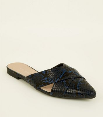 Blue Faux Snake Skin Cut Out Cross Strap Mules