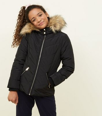 Girls Black Faux Fur Trim Hooded Parka