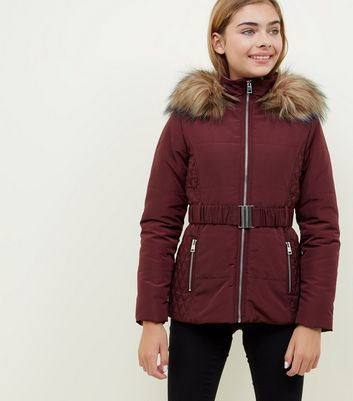 Girls Burgundy Faux Fur Trim Belted Puffer Jacket