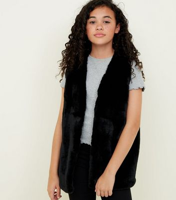Girls Black Faux Fur Gilet