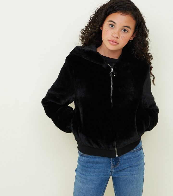 aaabb35afde2 Girls Black Faux Fur Hooded Bomber Jacket
