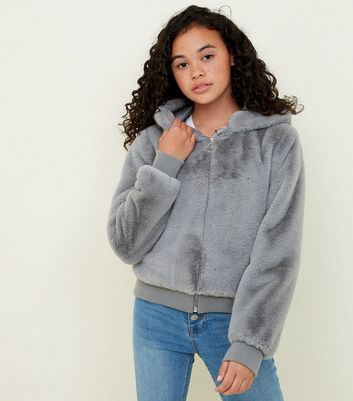 Girls Grey Faux Fur Hooded Bomber Jacket