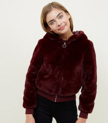 Girls Burgundy Faux Fur Hooded Bomber Jacket