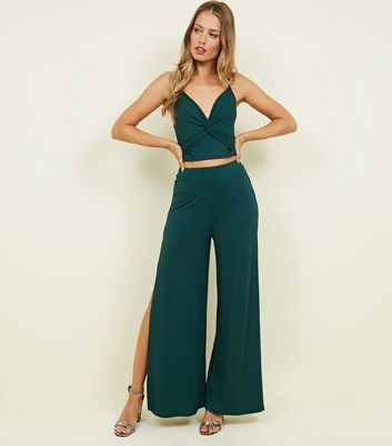 Dark Green Ribbed Flared Split Side Trousers