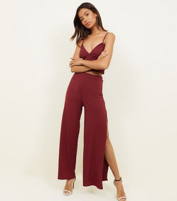 Burgundy Ribbed Side Split Flared Trousers
