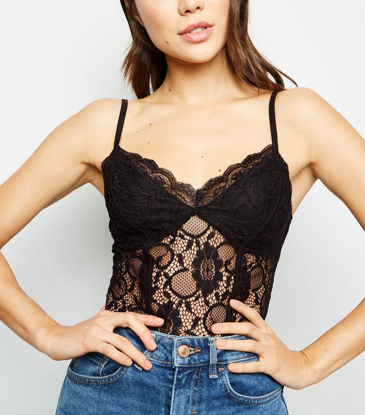 a788a1252 Black Sweetheart Neck Lace Bodysuit
