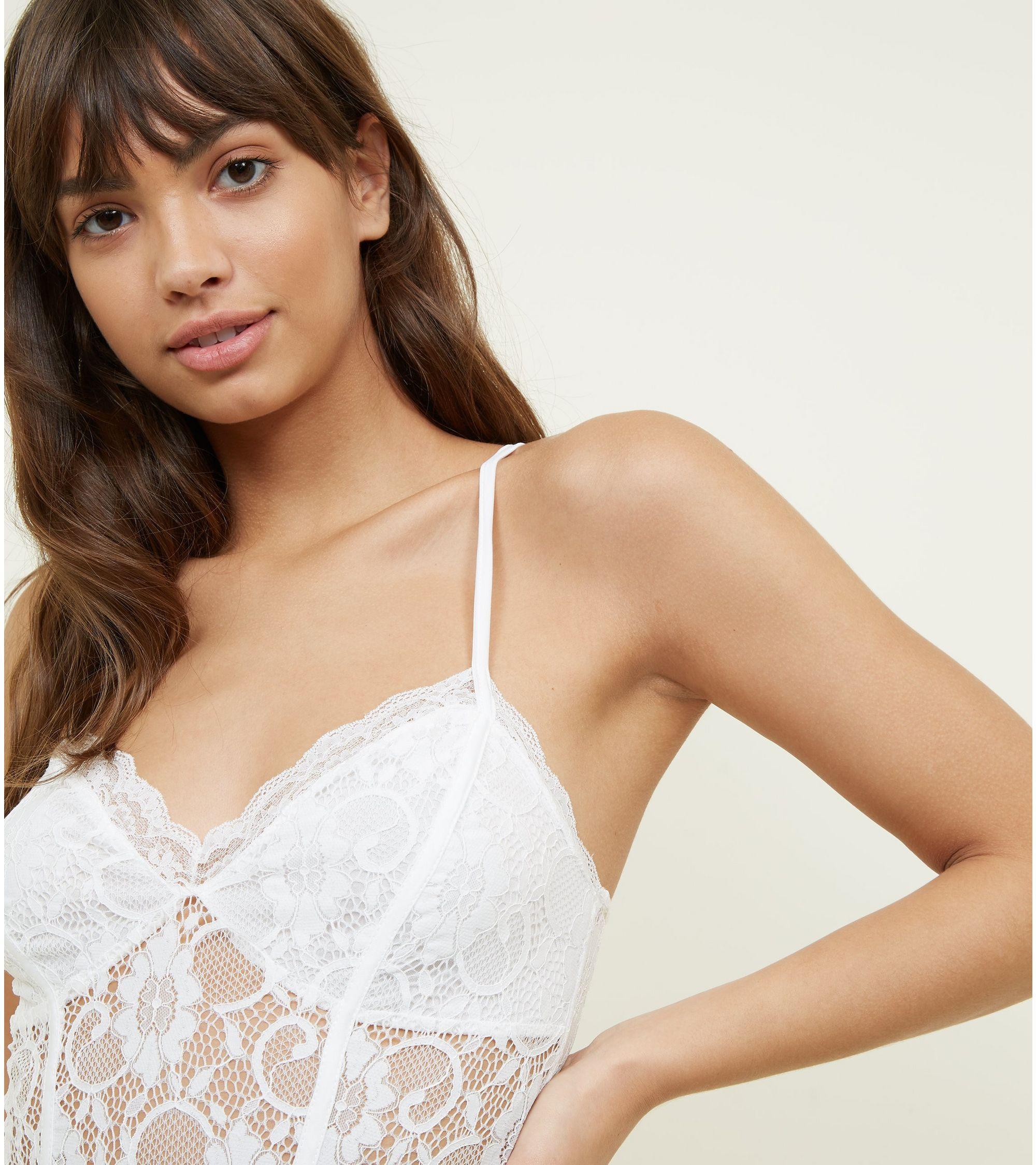 New Look - Off White Sweetheart Neck Lace Bodysuit - 6 6e7ea8eaa