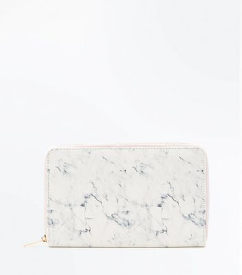 White Marble Effect Travel Wallet