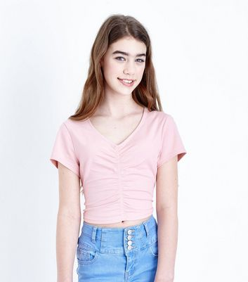 Girls Pale Pink Ruched Front T-Shirt