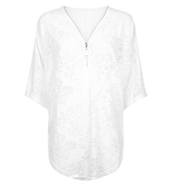 QED White Floral Burnout Top New Look