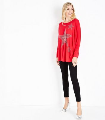 QED Red Star Embellished Oversized Top New Look