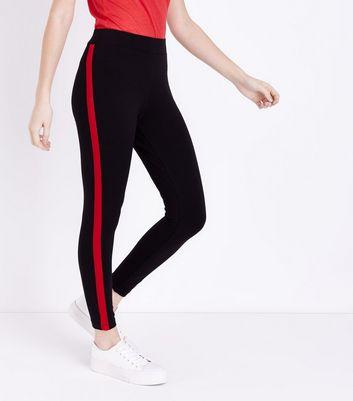 Petite Black Side Stripe Leggings New Look