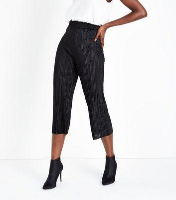 Black Plisse Paperbag Culottes New Look
