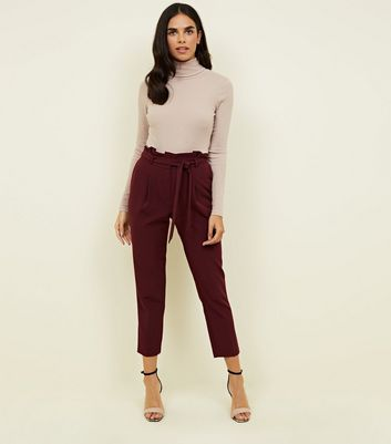 Burgundy Paperbag Waist Tapered Trousers