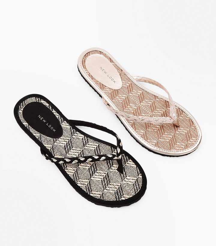 5eb18a290 2 Pack Black and Tan Woven Straw Flip Flops