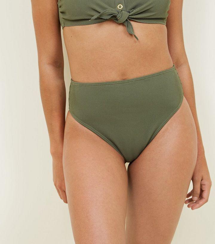 8a5f1253c2174 Khaki Ribbed High Waist Bikini Bottoms | New Look
