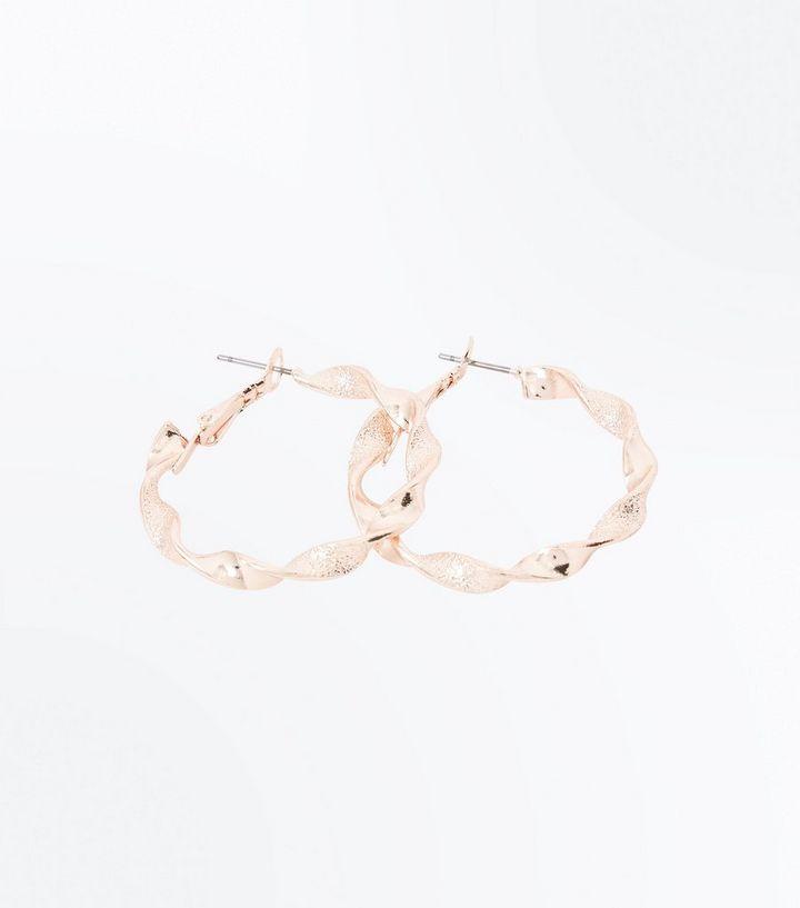 Rose Gold Twist Mini Hoop Earrings New Look