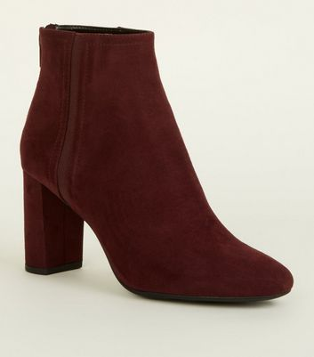 Burgundy Suedette Block Heel Ankle Boots