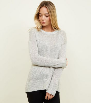 Pale Grey Curved Hem Jumper